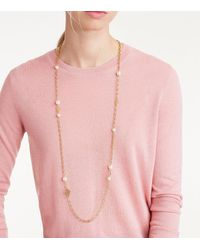 Tory Burch Metallic Crystal-pearl Chain Rosary Necklace