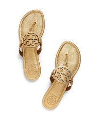 Tory Burch Natural Miller Metallic Leather Sandals
