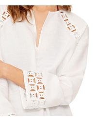 Tory Burch - White Embroidered Linen Cut-out Tunic - Lyst