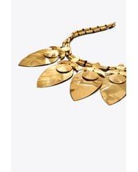 Tory Burch - Metallic Hammered Metal Leaf Short Necklace - Lyst