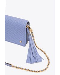 Tory Burch Blue Fleming Flats Wallet Crossbody