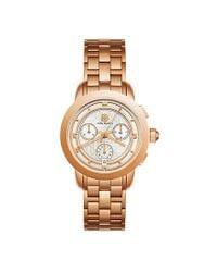 Tory Burch | Metallic Tory Watch, Rose Gold-tone/ivory Chronograph, 37mm | Lyst