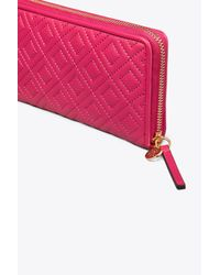 Tory Burch - Pink Fleming Zip Continental Wallet | 612 | Continental - Lyst