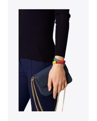 Tory Burch - Black Striped Raffia Double-wrap Bracelet - Lyst