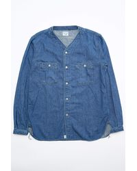 0be8d03660 Lyst - Orslow No Collar Denim Shirt in Blue for Men