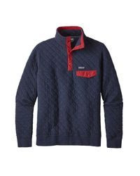 Patagonia Cotton Quilt Snap T Pullover Navy Blue In Gray