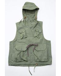 Engineered Garments Green Field Vest Olive Pc Poplin for men