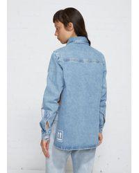 Off-White c/o Virgil Abloh Blue Crop Front Denim Shirt