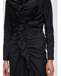 Yohji Yamamoto Black Hooded Gather Dress