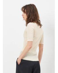 Lemaire - Natural Cream Fine Rib Tee Shirt - Lyst