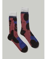 Sacai Multicolor Leopard Sock for men