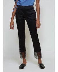 Lanvin Black Lace Hem Trousers