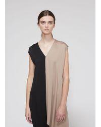 Zero + Maria Cornejo Black Loop Colorblocked Twill Midi-dress