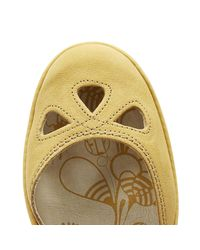 Fly London Yuna Womens Bumblebee Yellow Leather Wedge Sandals