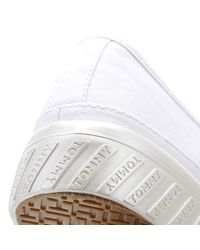 Tommy Hilfiger Flatform Womens White Cotton Trainers