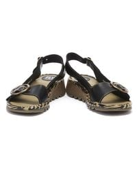 Fly London Tram Womens Black Leather Wedge Sandals