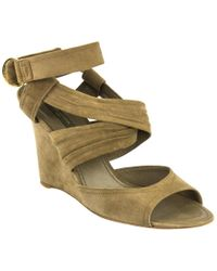 Louis Vuitton Multicolor Taupe Wrap Around Wedges
