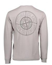 Stone Island - Gray Logo Tee for Men - Lyst
