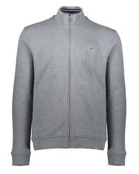 Lacoste - Gray Zip Stand Up Collar Jacket for Men - Lyst