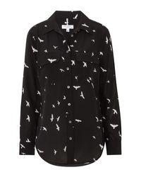 Equipment Slim Signature Raven Print Shirt In True Black