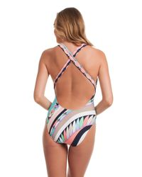 Trina Turk Blue Electric Wave Cross Back One Piece