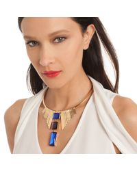 Trina Turk - Metallic Adjust Metal Stone Necklace - Lyst