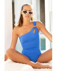 Trina Turk Blue Getaway Solid One Shoulder