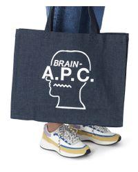 Borsa shopping APC X Brain Dead Denim bianca di A.P.C. in Blue