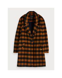 Maison Scotch Multicolor Checked Coat Wool