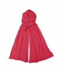 The West Village Red And Pink Stripe Cashmere Scarf