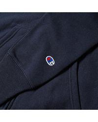 Reverse Weave Small Script sudadera con capucha azul marino con cremallera Champion de hombre de color Blue