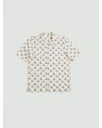 Camicia a maniche corte Sorimachi Cross Word Man Print di Sunspel in White da Uomo