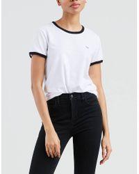 Levi's White Weißes Baumwollperfekt-nicht-grafisches Wecker-T-Shirt