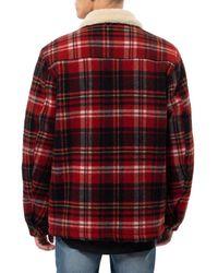 Nudie Jeans Red Alert Sherpa-Jacke aus Bio-Baumwolle mit Lenny-Karomuster für Herren