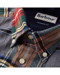Camicia Stableton Castlebay in cotone grigio mélange MSH3221GY52 di Barbour in Multicolor da Uomo