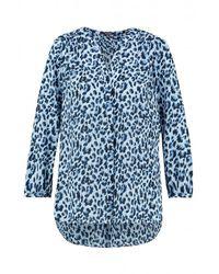 Camicia Pintuck con stampa gatto Canyon di NYDJ in Blue