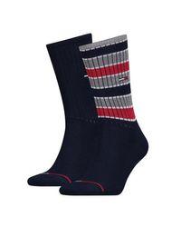 Lot de 2 paires de chaussettes à rayures bleu marine Tommy Hilfiger pour homme en coloris Blue