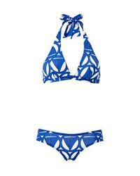 Bikini de impresión de barco para mujer Petit Bateau de color Blue