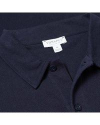 Polo Riviera manica lunga blu navy di Sunspel in Blue da Uomo