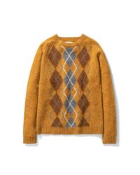 Norse Projects Birnir Brushed Argyle Montpellier Yellow for men