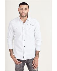 True Religion | White Triple Needle Mens Western Shirt for Men | Lyst