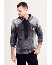 True Religion | Black Washed Pullover Mens Hoodie for Men | Lyst