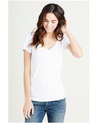 True Religion   Red Embellished Cotton Blend T-shirt   Lyst