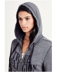 True Religion Black Burnout Logo Womens Hoodie