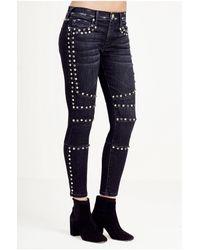 True Religion | Blue Halle Super Skinny Moto Cropped Womens Jean | Lyst