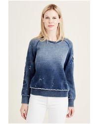 True Religion | Blue Embroidered Raglan Womens Sweatshirt | Lyst
