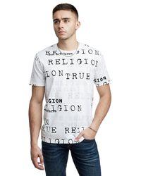 True Religion Multicolor Allover Script Crew Neck Tee for men