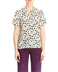 Tucker | Multicolor The Short Sleeve Polo Blouse | Lyst