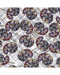 Turnbull & Asser Multicolor Palette Paisley Navy Silk Pocket Square for men
