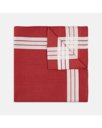 Turnbull & Asser Adelie Red And White Check Cotton Handkerchief for men